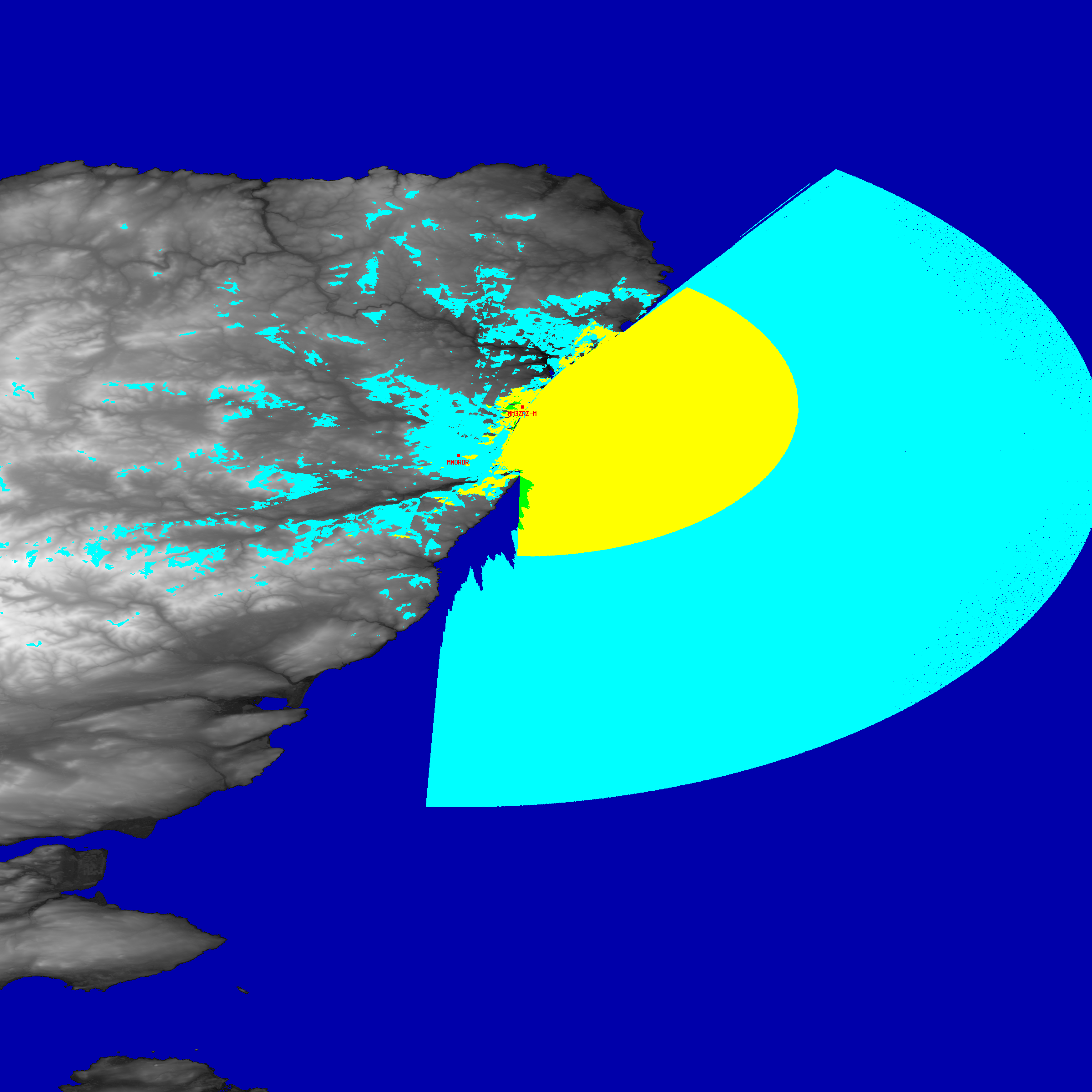 a coverage study, in cyan, green and yellow